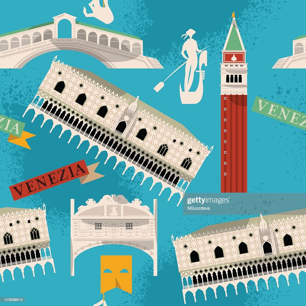 Sights of Venice. Italy, Europe. Seamless background pattern.