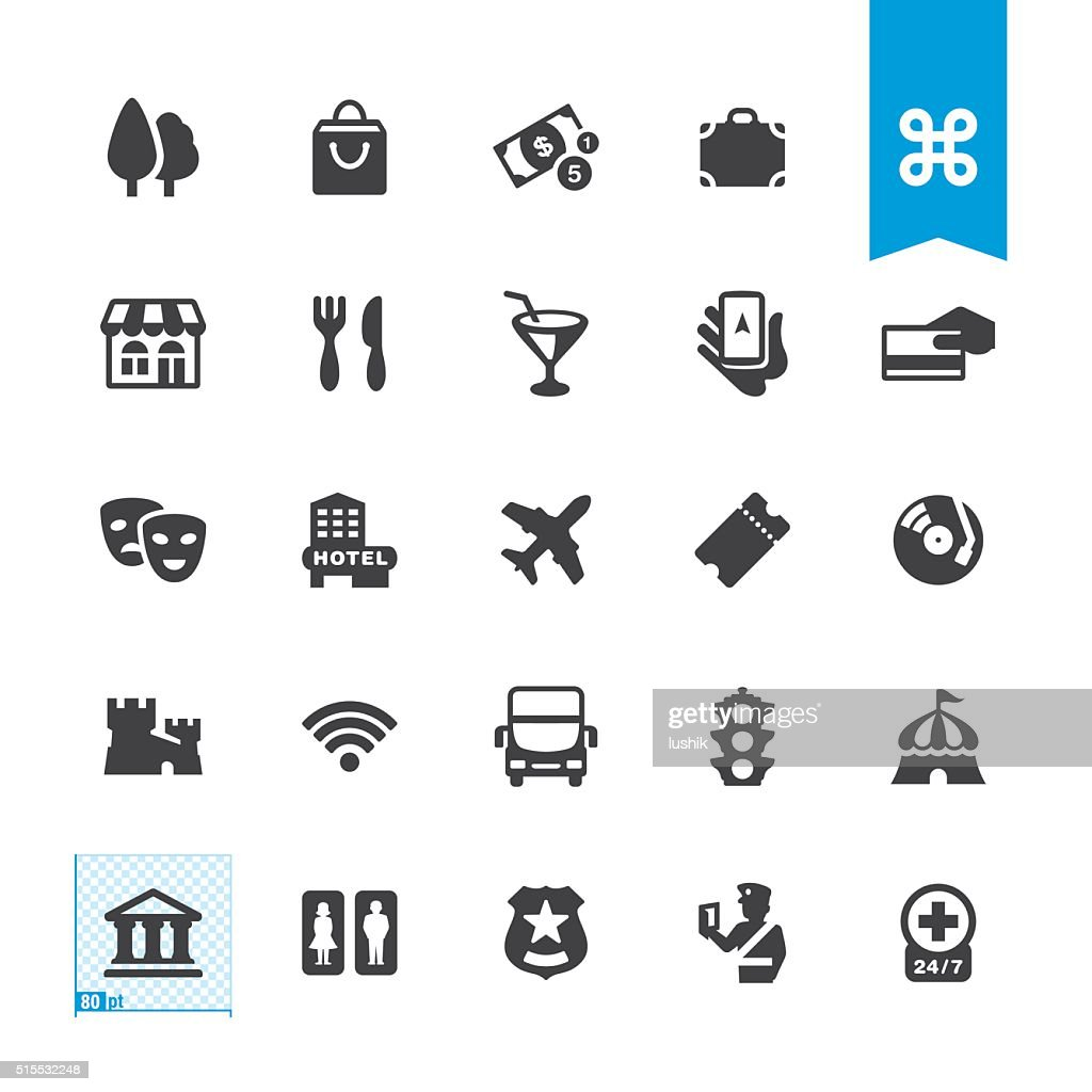 Sightseeing & City Guide vector sign and icon : stock illustration