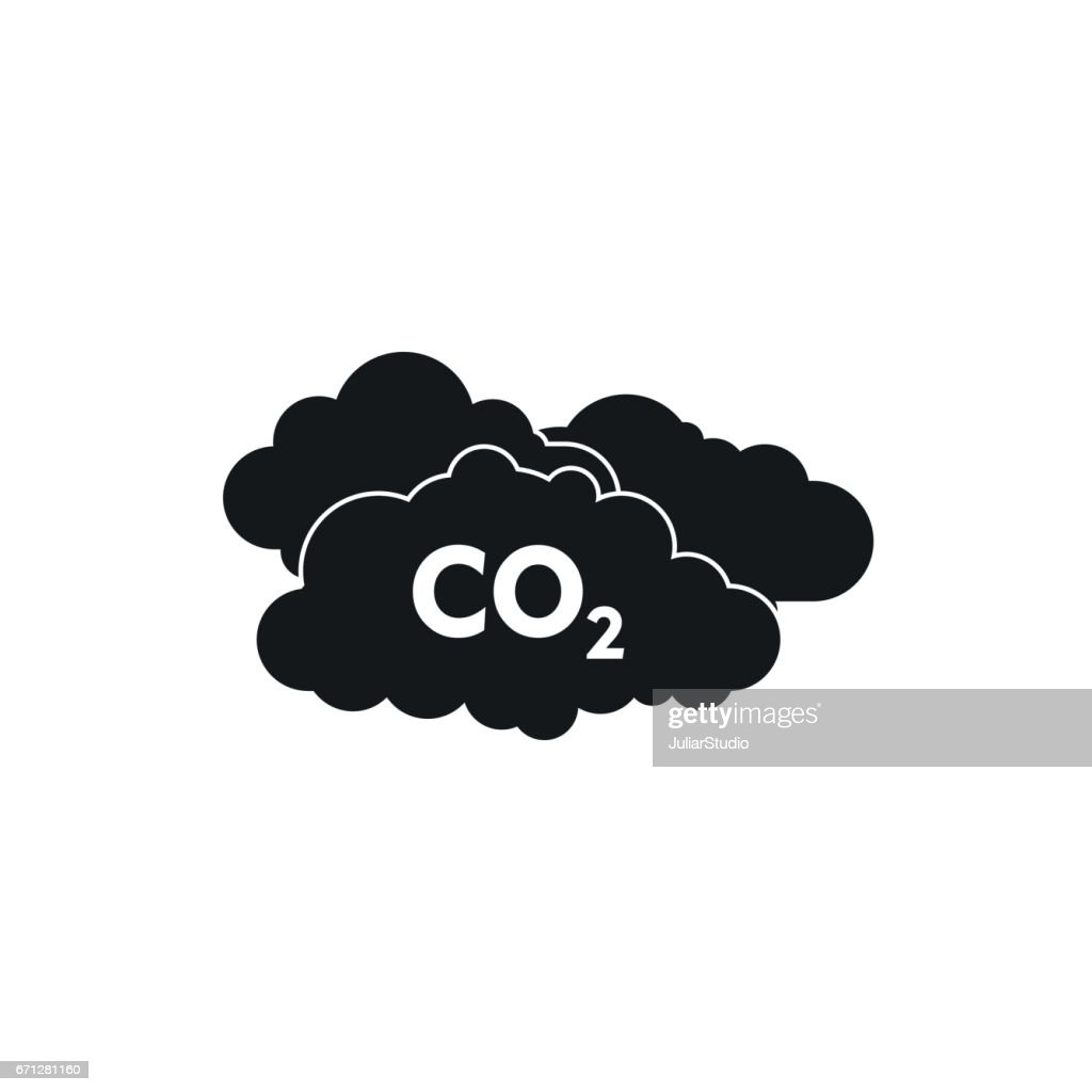 CO2 sign and cloud icon, simple style