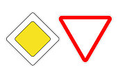 PRIORITY ROAD sign and GIVE WAY sign. Vector