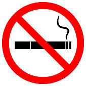 NO SMOKING sign. Cigarette icon with filter and smoke in red crossed out circle. Vector