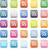 RSS sign color internet icon white pictogram web button