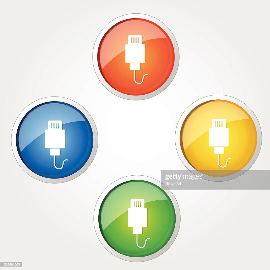 USB Sign Colorful Vector Icon Design