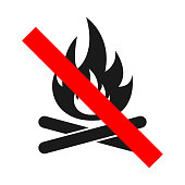 NO BONFIRE sign. Do not make fire. Vector