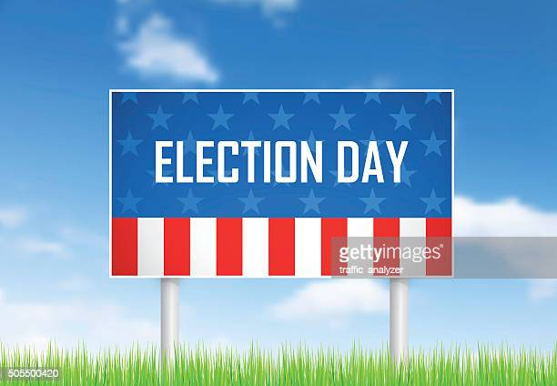 """sign """"election day"""" over sky - politics and government stock illustrations, clip art, cartoons, & icons"""