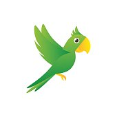Sign flying green parrot