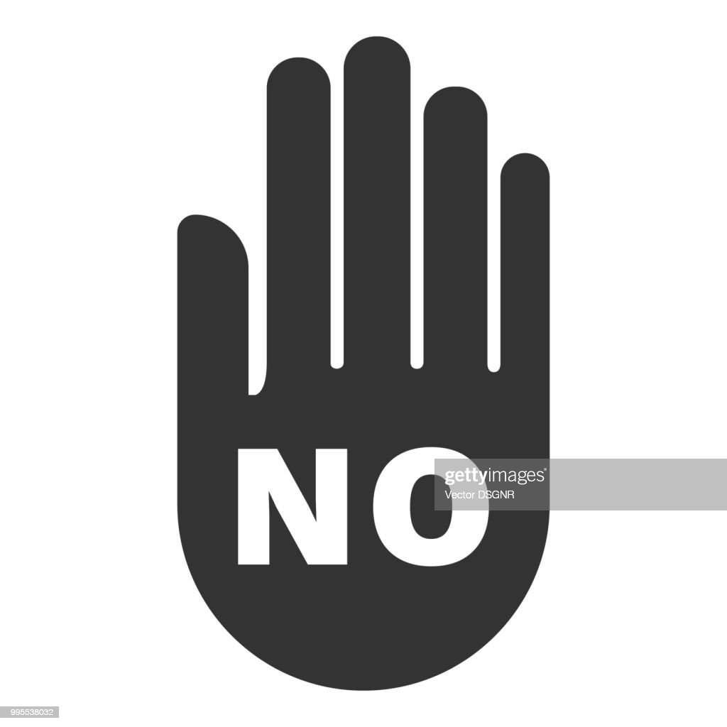 NO sign. Hand silhouette with inscription NO. Vector icon