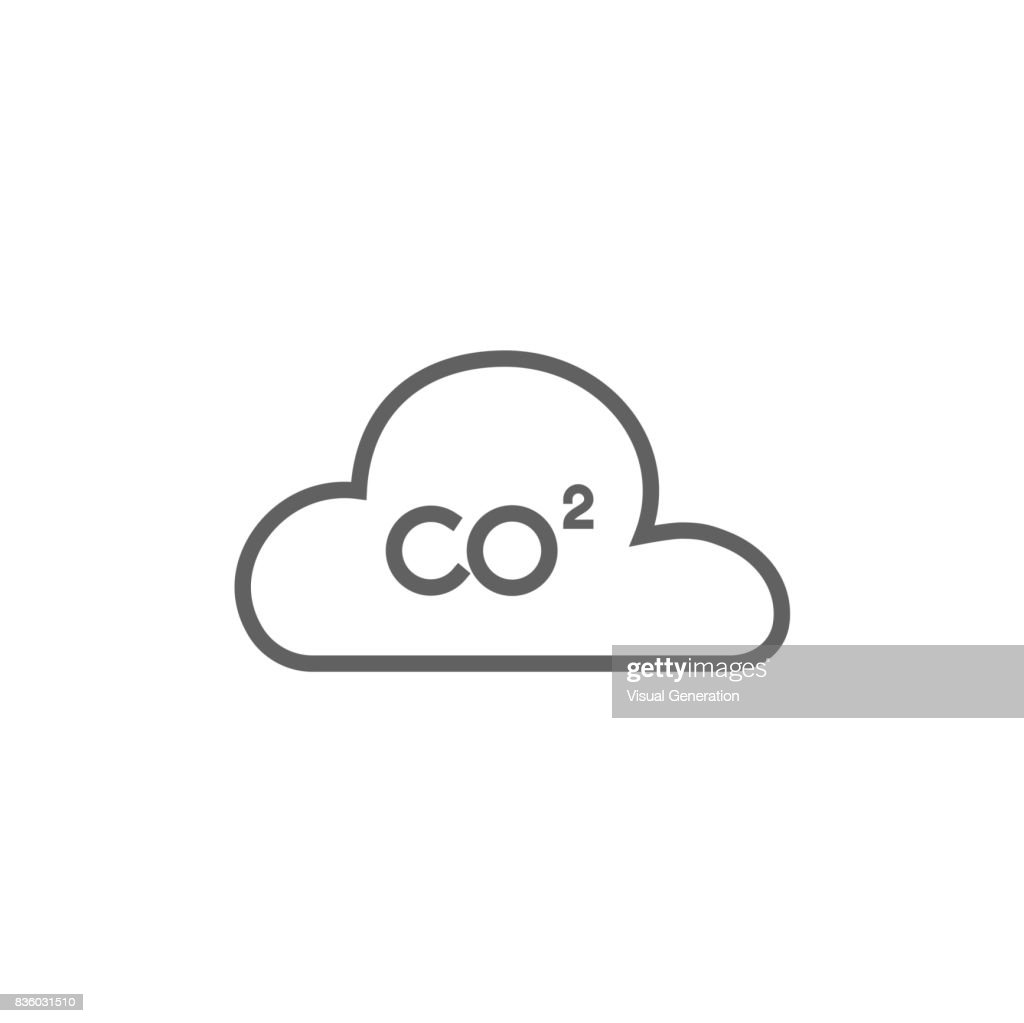 CO2 sign in cloud line icon
