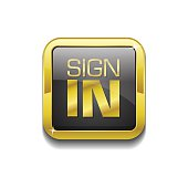 Sign In Gold Vector Icon Button