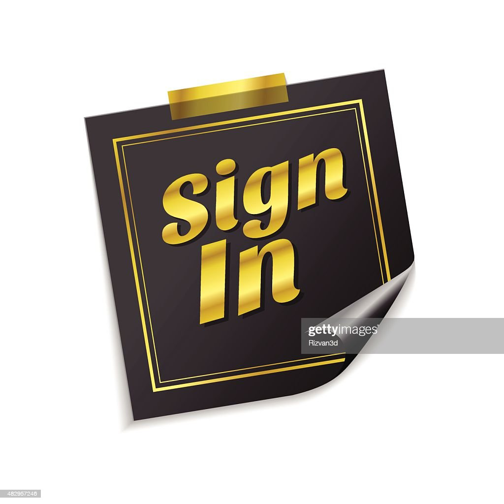 Sign In  Golden Sticky Notes Vector Icon Design