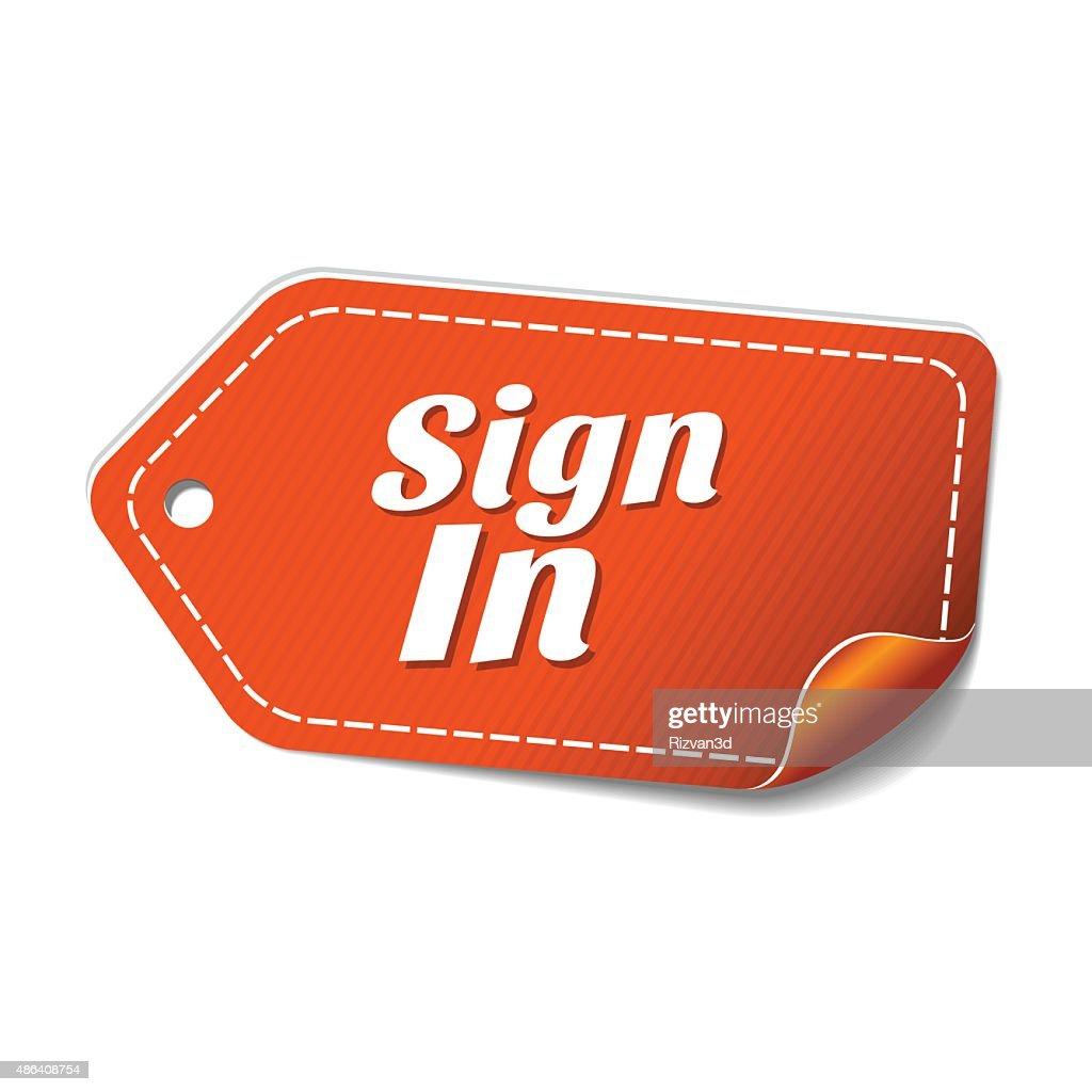 Sign In Orange Vector Icon Design