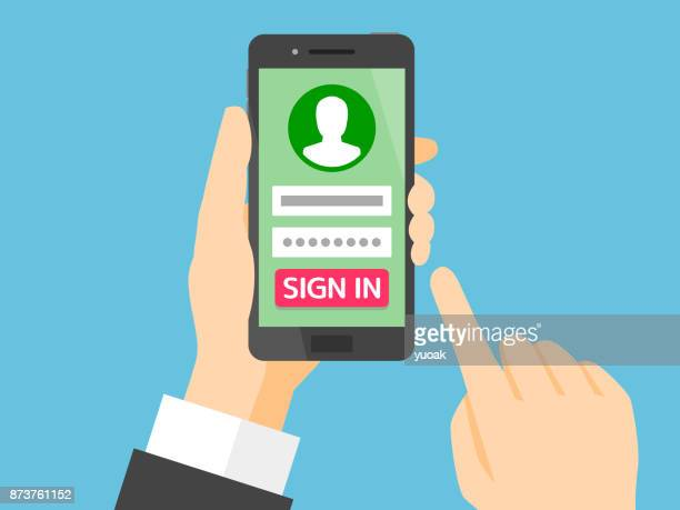 sign in page on smartphone screen - log on stock illustrations