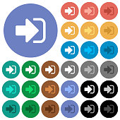 Sign in round flat multi colored icons