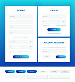 Sign in, sign up, account recovery. Login forms with web elements in different style.