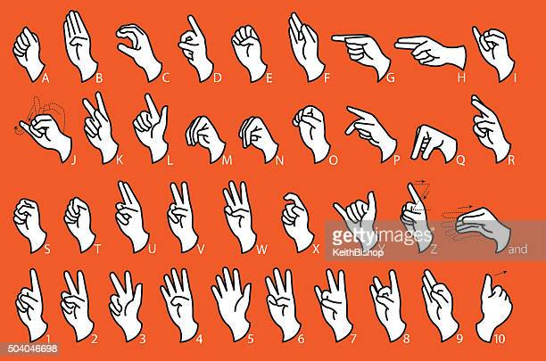 sign language - communication - alphabet stock illustrations