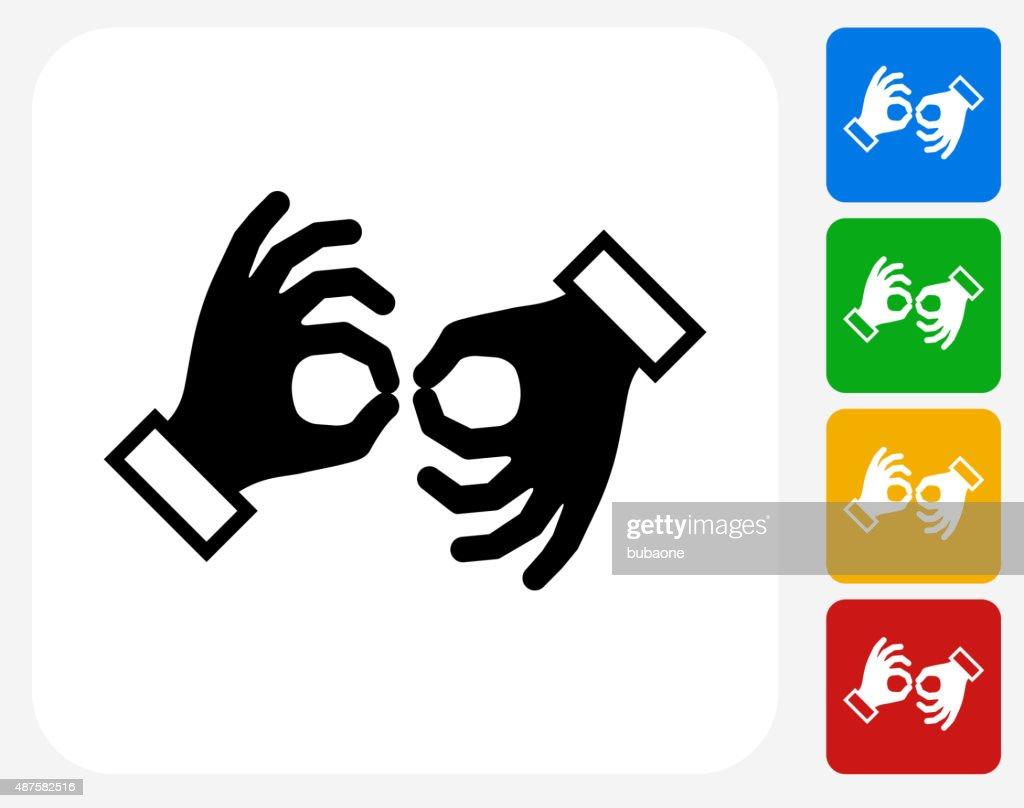 Sign Language Icon Flat Graphic Design