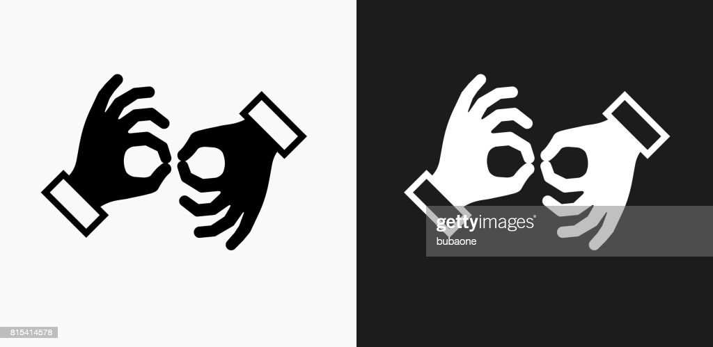 Sign Language Icon on Black and White Vector Backgrounds