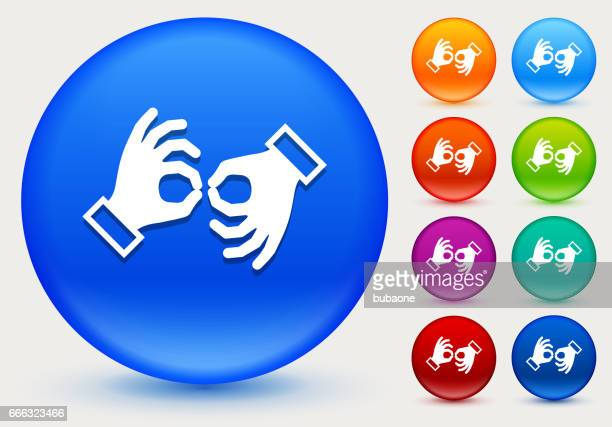 sign language icon on shiny color circle buttons - sign language stock illustrations, clip art, cartoons, & icons