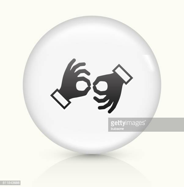 sign language icon on white round vector button - sign language stock illustrations, clip art, cartoons, & icons