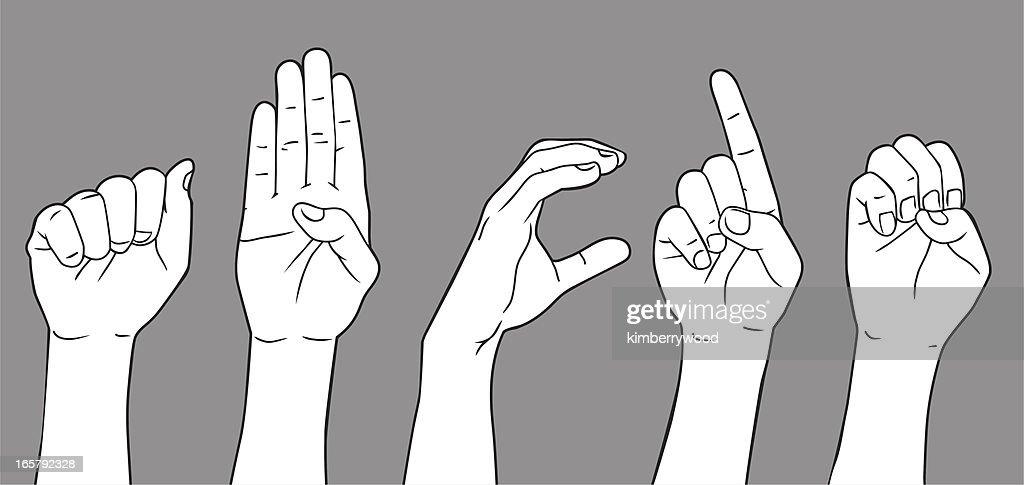 Sign Language Letter A B C D E : stock illustration