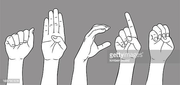 sign language letter a b c d e - sign language stock illustrations, clip art, cartoons, & icons