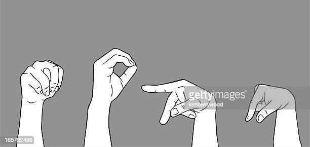 illustrations, cliparts, dessins animés et icônes de langue des signes lettre n o p q - perte auditive
