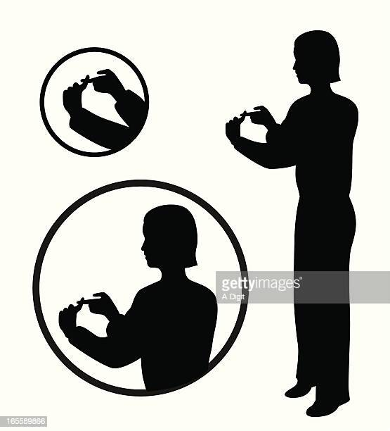 sign language vector silhouette - sign language stock illustrations, clip art, cartoons, & icons