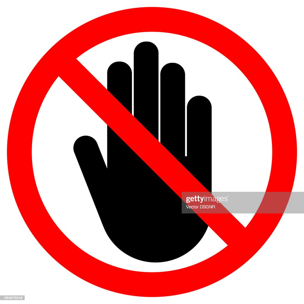 NO ENTRY sign. LEFT hand palm. STOP icon in crossed out red circle. Vector