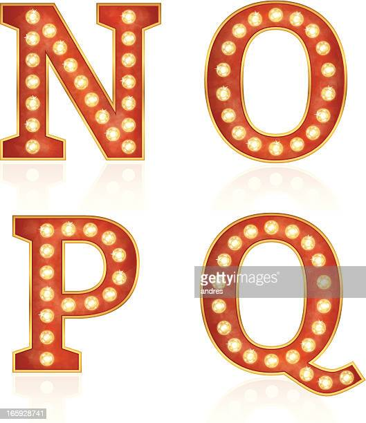 Sign letters with lamps - N, O, P, Q