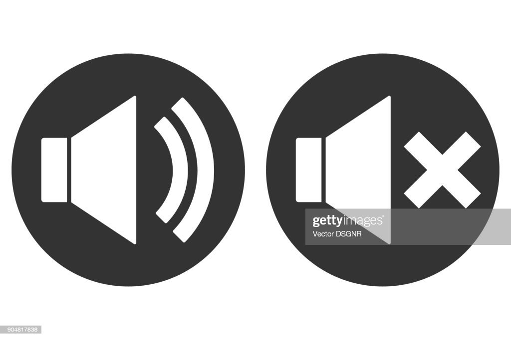 SOUND ON OFF sign. Loudspeaker icon in circle. Vector