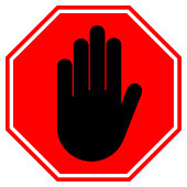 STOP HAND sign. NO ENTRY gesture in red octagon. Vector icon
