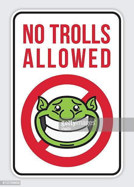 sign - no internet trolls allowed - teasing stock illustrations, clip art, cartoons, & icons