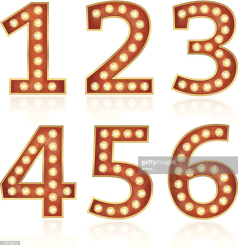 Nummern mit Lampen : Stock-Illustration