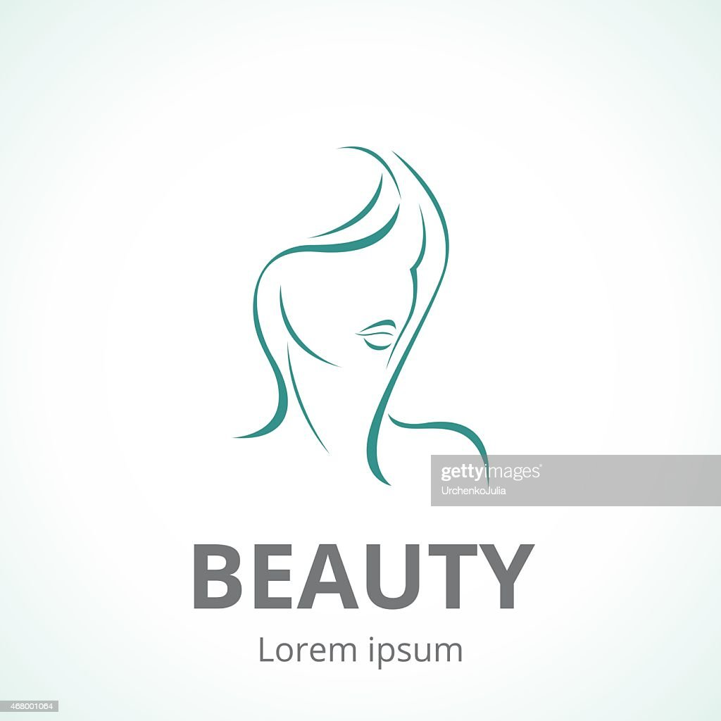 Sign of a woman's face vector logo template