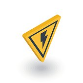 Sign of danger, high voltage isometric flat icon. 3d vector