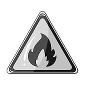 Sign of flammability.Oil single icon in monochrome style vector symbol stock illustration web.