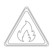 Sign of flammability.Oil single icon in outline style vector symbol stock illustration web.