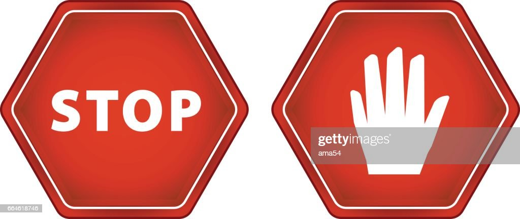 Sign Of Stop And Hand Vector Sign Symbol Vector Art Getty Images
