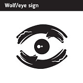 Sign of wolves and moon, eye