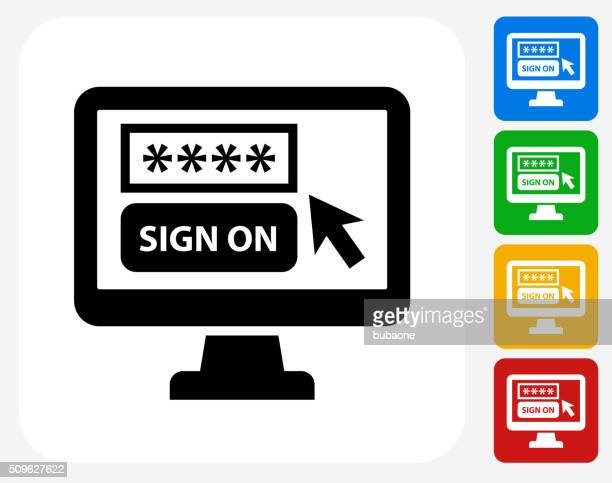 sign on computer icon flat graphic design - log on stock illustrations