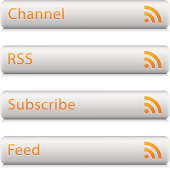 RSS sign orange pictogram rounded rectangle icon web internet button