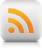 RSS sign orange pictogram rounded square icon web internet button