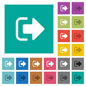 Sign out square flat multi colored icons