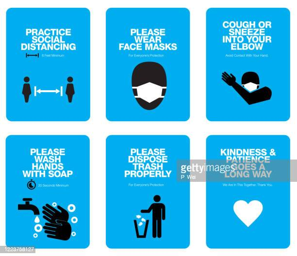 covid sign poster templates - protective face mask stock illustrations