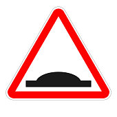 SPEED HUMP sign. Red triangle. Vector