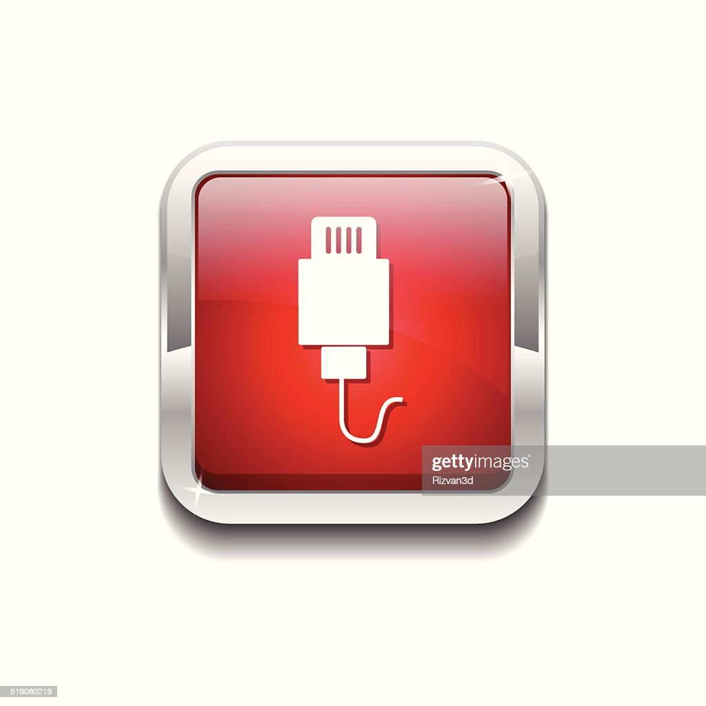 USB Sign Red Vector Icon Button