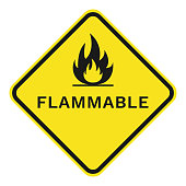FLAMMABLE sign. Rhombus. Vector