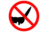 STOP MURDER sign. Silhouette of human hand with killing kitchen knife in red circle. Vector