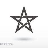 Sign Star. 5-point Celtic star knot. Pentagram