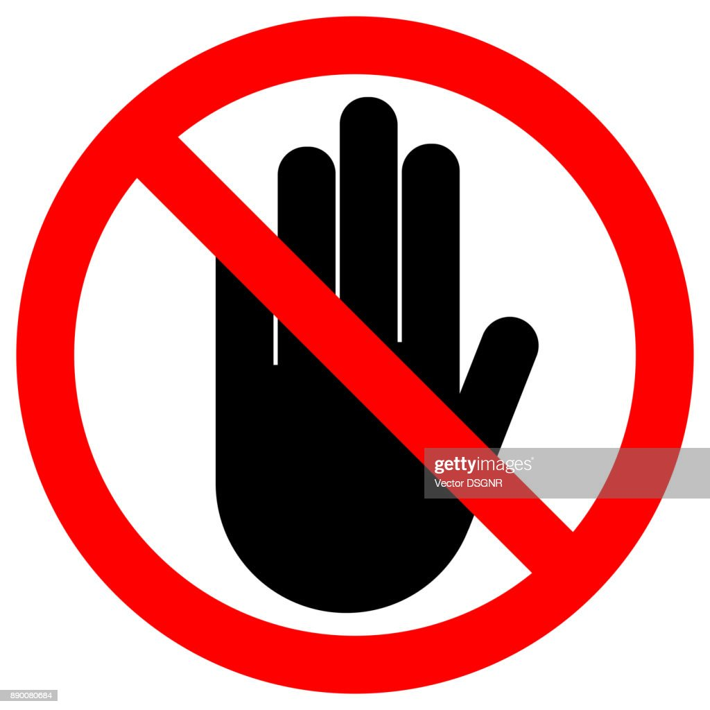 NO ENTRY sign. Stop palm hand icon in crossed out red circle. Vector